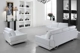 White Leather Chairs For Living Room Leather Modern 3pc Sofa Loveseat Chair Set