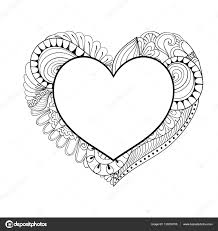 fl doodle heart frame in zentangle style for coloring page hand drawn vector monochrome ilration valentine s day greeting card template
