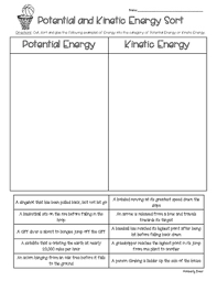 Potential And Kinetic Energy Sort 4 Little Baers Teachers Pay