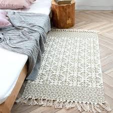 cotton hand woven checd striped black white rug tassels design machine washable rugs machine washable kitchen