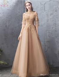 Dress Design Gold Tulle Evening Dress 2019 Luxury Top Lace Elegant New Design Illusion Sleeves A Line High Neck Floor Length Women Prom Gown Design A Prom Dress