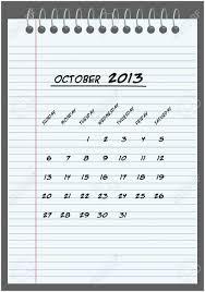 Monthly Calendar 2013 Monthly Calendar October 2013 Hand Written In The Notebook