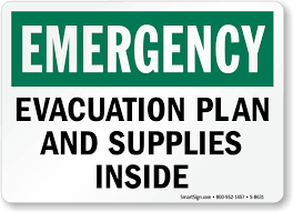 Evacuation Plan And Supplies Inside Sign Emergency Signs