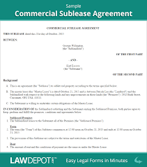 Sublease Agreement Samples Commercial Sublease Agreement Template Us Lawdepot