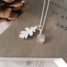 sterling silver mini oak leaf personalised acorn necklace limezest jewellery