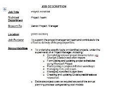 Project Manager Job Description Project Assistant Job Description Free Download