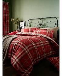 catherine lansfield kelso tartan double duvet cover set bedroom
