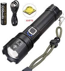 Torch Light Photos Led Xhp70 Flashlight And Battery 3000 Lumens Power Bank
