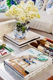 blue and white coffee table book