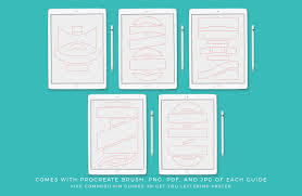 Lettering Templates Composition Guide Templates For Procreate Set 1 By Holly