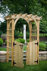 4 ft pressure treated pine roman arch arbor with gates amish made usa unfinished