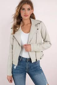 no mercy light grey moto leather jacket