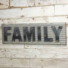 corrugated metal family sign