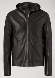 emporio armani men s hooded jacket in leather navy blue h2awn3a2