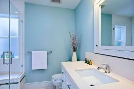 Exellent Bathroom Decorating Ideas Blue Walls Vanity And Intended