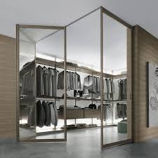 charming double glass swing doors with custom open racks as clothing storage as inspiring modern walk in closet design ideas