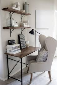 wooden office desk simple. Home Decorating Ideas - Small Office Desk In Rustic Industrial Glam Style. Wingback Chair, Simple Wood And Metal Frame Desk, Shelves With Black Wooden