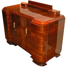 Amazing quality Art Deco Walnut curved buffet or storage unit