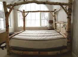 Full Size Canopy Bed Frame White Throw Blanket And Without Curtain ...