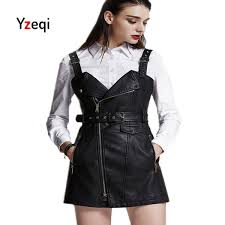 yzqi fashion autumn leather overall dress women soft pu faux leather dresses y turn down
