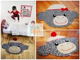 sock monkey rug or nursery mat carpet crochet pattern by irarott