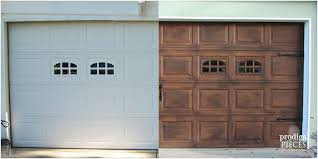 before and after photographs show a plain white garage door with two small windows and
