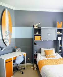 fabulous color cool teenage bedroom. Small Kids Bedroom With Orange And Grey Color Scheme Study Space Cool Wall Fabulous Teenage B