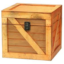 vintiquewise wooden stackable treasure chest cargo crate style light brown