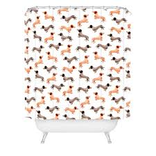darling dachshunds woven shower curtain by wonder forest