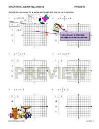 level 1 preview print answers level 2 preview print answers level 3 preview print answers preview of math worksheet on graphing linear equations