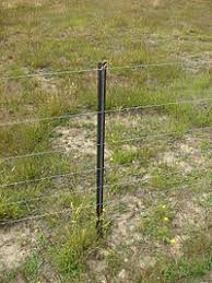 fence post.  Fence A Steel Post On A Standard Seven Wire Fence In New Zealand On Fence Post 0