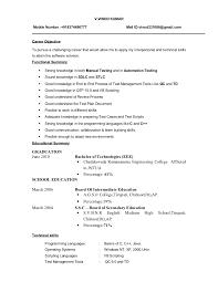 Fresher Testing Cv Fresh Sample Resume For Software Tester Fresher
