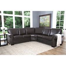 abbyson leather sectional oxford brown top grain leather sectional sofa abbyson erica leather sectional