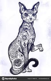 Vintage Styl Kočka S Tělo Flash Umění Tetování Stock Vektor