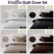details about waffle quilt cover set black white linen chocolate single double queen king