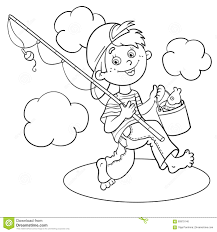 Small Picture Coloring Page Outline Of A Cartoon Boy Fisherman Stock Photo