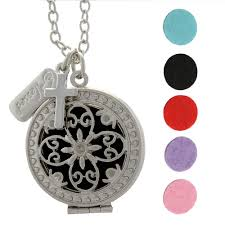 blessed cross essential oil necklace