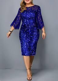 Modlily Size Chart Plus Size Lace Panel Sequin Detail Dress Modlily Com Usd 39 32