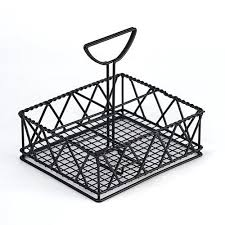 table caddy for restaurant iron powder coated five compartment condiment with paper towel holder