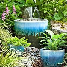 diy garden fountains fountain in a blue ceramic pot making garden fountains