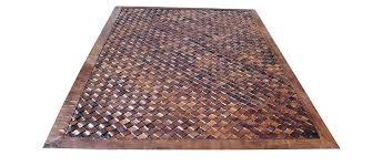 woven leather rug diagonal light brown basket weave leather rug diagonal light brown