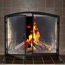 pilgrim 39 x 32 shadow iron fireplace screen with operable doors