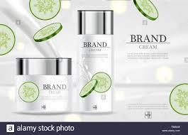 Cosmetic Label Design Template Cucumber Cream Moisturizer Hydration Vector Realistic