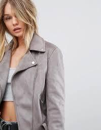 women new look faux suede biker jacket pin buckle belt lightgrey