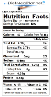 light mayonnaise nutrition facts label sauces es spreads 13
