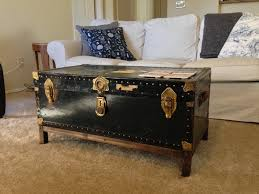 black vintage trunk coffee table