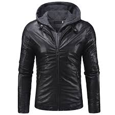 2018 new double zipper access men s knit hooded leather jacket 2xl