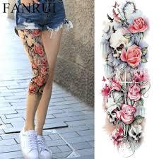 сексуальные летние женщины цветок временные татуировки полные ноги боди арт