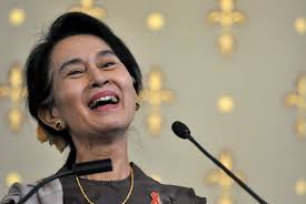 "myanmar s aung san suu kyi urges "" dom from fear  <p>aung san suu kyi smiling during her speech"