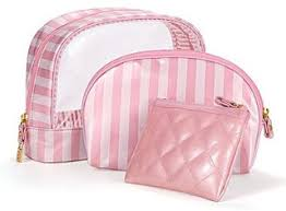 victoria s secret signature stripe makeup bag trio